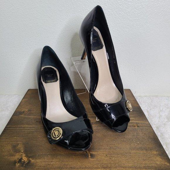 Christian Dior Patent Leather Black Peep Toe Heel